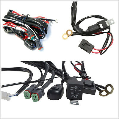 Waterproof 2Lead Universal Car LED Working Light Bar Fog Lamp Wiring Harness Kit