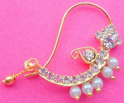 *white Diamante Pearl Gold Tone Indian Bollywood Marathi Nose Ring Nath Jewelry
