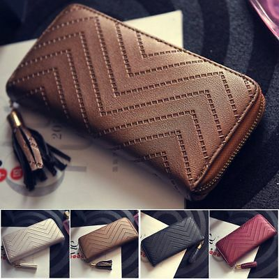 Womens Leather Clutch Long Wallet PU Card Holder Lady Purse Handbag Envelope Bag