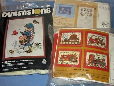 Lot 3 Christmas Kits Dimensions Crewel Drummer & Creative Circle with Frames