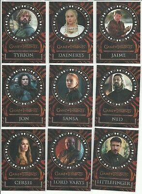 Rittenhouse Game Of Thrones Valyrian Steel Laser Cut Insert Complete 18 Card Set