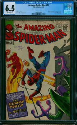 Amazing Spider-Man # 21  The Human Torch and the Beetle ! CGC 6.5  scarce book !