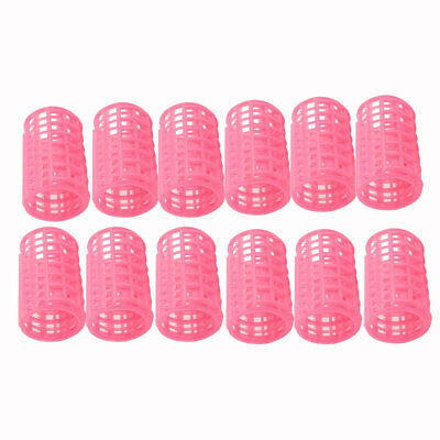 12 Pcs Pink Plastic DIY Hair Styling 3.8cm Diameter Roller Curler for Lady