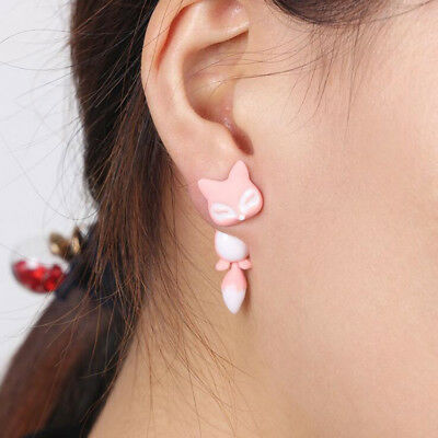 Funny Lovely Cute Small 3D Animals Fox Shaped Lady Stud Charming Earrings