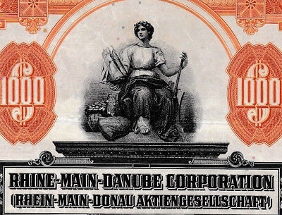 Rhein-Main-Donau AG unc Gold $ bond 1925 + Kupons germany RMD Kanal Bayern