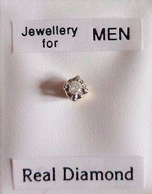 New Men's 'SINGLE' 9ct gold & 3mm 0.025ct diamond round stud earring-boxed