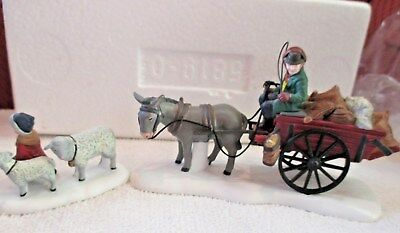 d937s  Dept 56 Dickens Village Bringing Fleeces to the Mill Set of 2  58190
