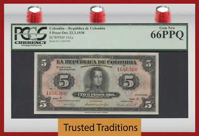 "TT PK 341a 1938 COLOMBIA 5 PESOS ORO ""CORDOBA"" PCGS 66 PPQ NONE FINER KNOWN!"