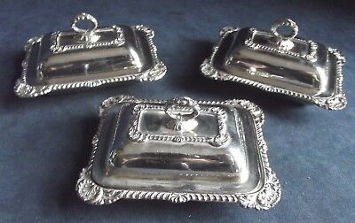 """SUPERB Set of THREE ~ 4"""" Petite ~ SILVER Plated ~ BUTTER / Olive DISHES ~ c1950"""