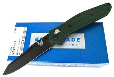 Benchmade Osborne 940BK AXIS Lock Folding Knife Green Aluminum Handles New