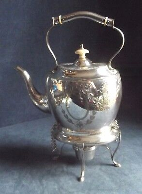 SUPERB Large ~ SILVER Plated ~ ENGRAVED ~ Spirit KETTLE on Stand ~ c1900