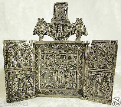 Antique Cast Sterling Silver Travel Icon Triptych Christian Bible Scene 3.5x4in