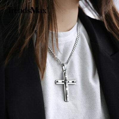 Cross Pendant Necklace Silver Curb Cuban Stainless Steel Mens Chain Father Gift