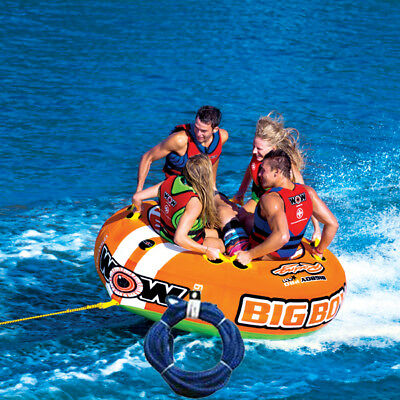 WOW BIg Boy Towable Ski Tube Inflatable Biscuit Boat Ride + 3 Person Tow Rope Pa