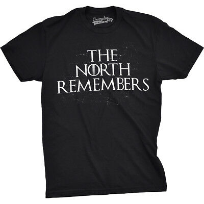 Mens The North Remembers Funny T shirts Cool Winter Christmas Novelty T shirt