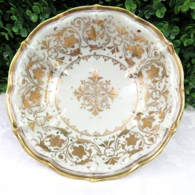 Antique Hand Painted Nippon Large Decorative Bowl Ivory w Gold Moriage Beading