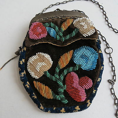 Native American Iroquois beaded purse on black velvet floral 1900 - 1930