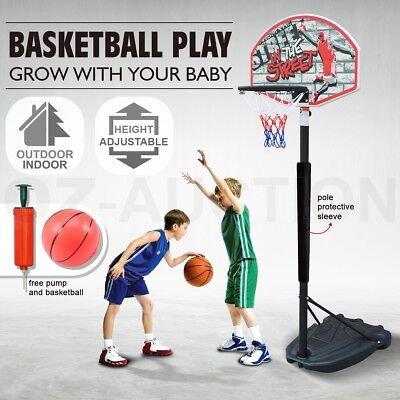1.4m-1.9m Adjustable Kids Basketball Hoop System Stand with Pole Protective