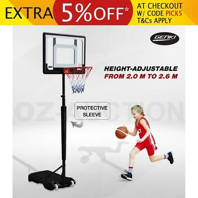 Genki 1.65m-2.1m Portable Kids Basketball Hoop System Stand w/ Pole Protective