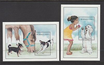 Nicaragua: 1996  Dogs: set of 2  Miniature sheets. MUH. Going Cheap