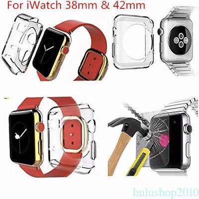 Real Tempered Glass Film Screen Protector W/ Case Cover For Apple iWatch 38/42mm