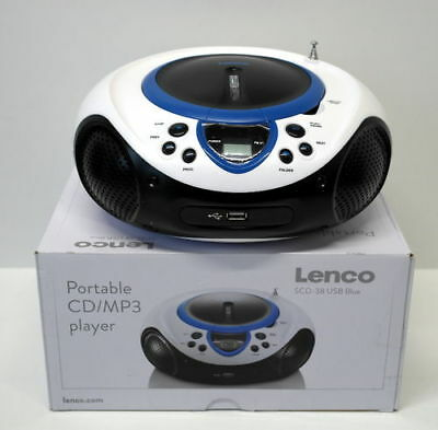Lenco SCD-38 Tragbares UKW-Radio mit CD/MP3-Player (USB 2.0) blau