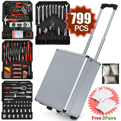 799pcs Hand Tool Set Carry Wheeled Case Box Trolley Mechanics Kit Organizer