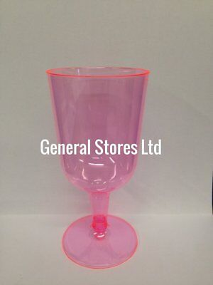 Pink Plastic Disposable Party Wine Glasses - Made in the UK - Hen Night XMAS