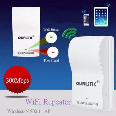 300Mbps Wireless-N WiFi Repeater Extender Booster 802.11 Network Router White