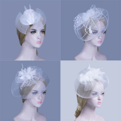 Women Bow Flower Hair Clip Lace Feather Mini Top Hat Fascinator Fancy Party