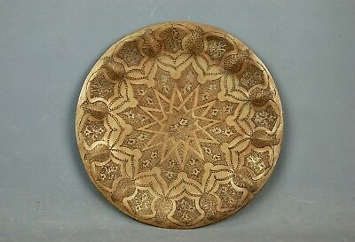 "Arts & Crafts hand chased Brass Twelve Pointed Star Tray Dish Platter 14""D 1900s"