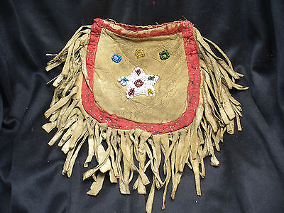 Pre Reservation Pony Beaded Great Lakes Tobacco Bag on Buffalo Brain Tan