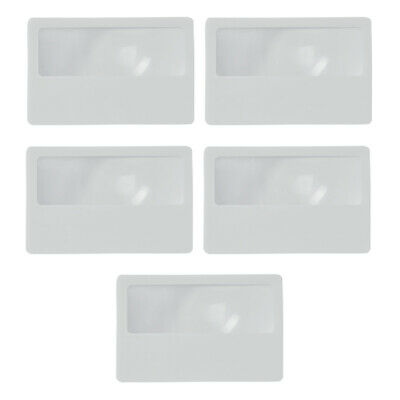 Set of 5 Magnifying Fresnel Lens Credit Card Size Magnifier Sheet Reading Sleeve