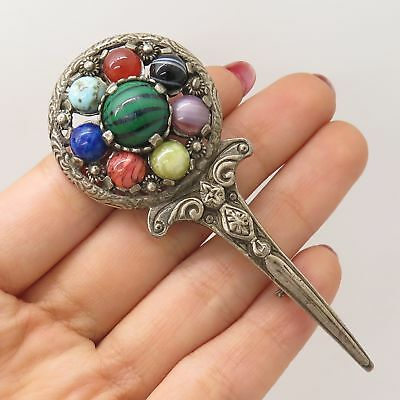 Jewelry & Watches Vtg 800 Silver Real Carnelian Gemstone Arabic Pin Brooch