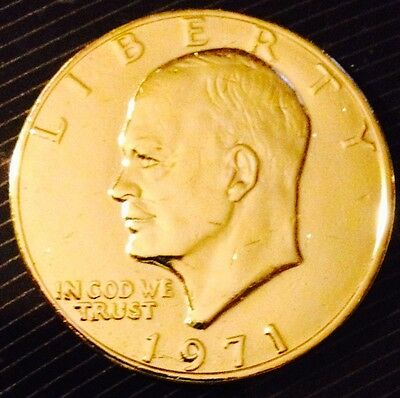 24K Gold Plated 1971 Eisenhower Dollar