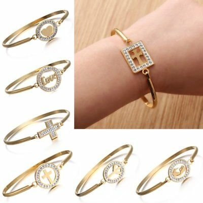 Elegant Women Stainless Steel Bracelet Bangle CZ Crystal Love Heart Jewelry Gift