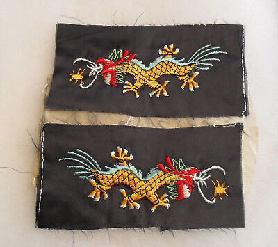 Great Wwii Emb On Silk Dragon Usn Liberty Cuff Patches Left & Right In Orig Bag
