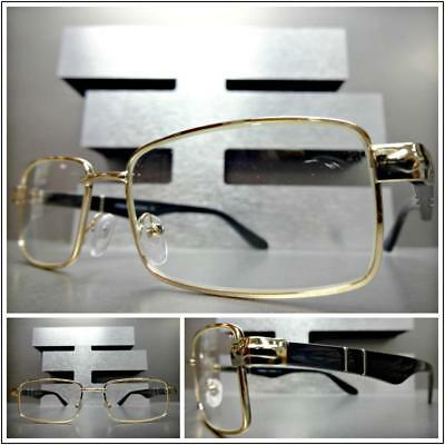 Mens SOPHISTICATED CLASSY MODERN Style Clear Lens EYE GLASSES Gold Fashion Frame