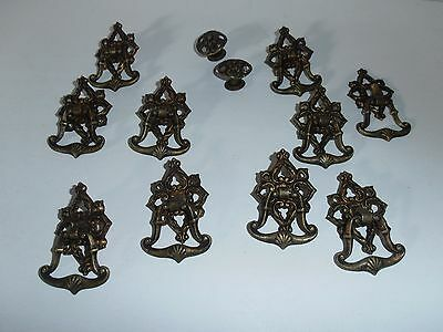 Lot of 12  10 Antique Drop Ring Pulls with plates  2 Knobs Solid Brass Victorian