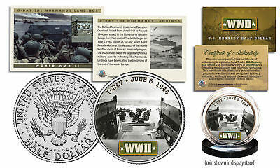 WWII * D-Day Normandy Landings *  JFK Half Dollar U.S. Coin w/ Fact Trading Card