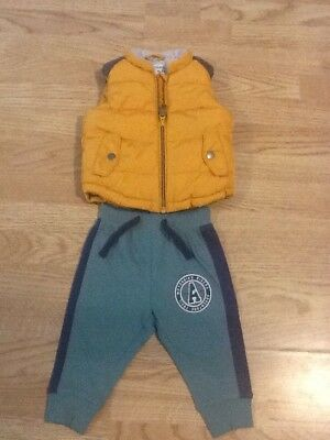 Baby Boys Size 6-9 Months Green Jogging Pants & Next Bodywarmer