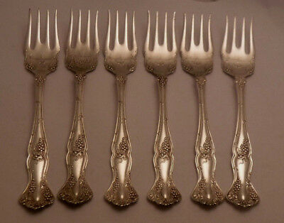 6 VINTAGE by 1847 ROGERS BROTHERS silver plate SALAD FORKS no monogram GRAPE