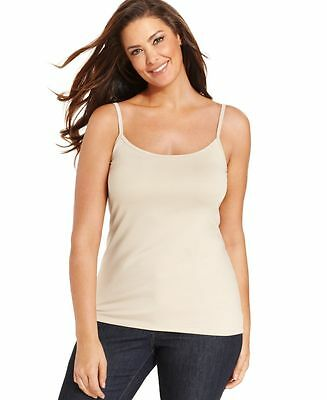 NEW CHARTER CLUB Women Casual Spaghetti Strap Stretch Cami Top Beige Nude Sz 0X