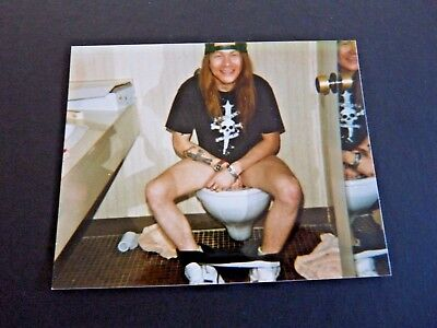 Guns & Roses 1980's 1990's Original Candid 4x5 Photo Axl Rose On Toilet