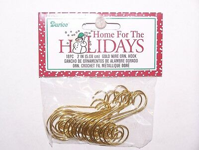 "18 Fancy Scroll Ornament Hooks Gold Color Wire 2"" Christmas Craft Decor"