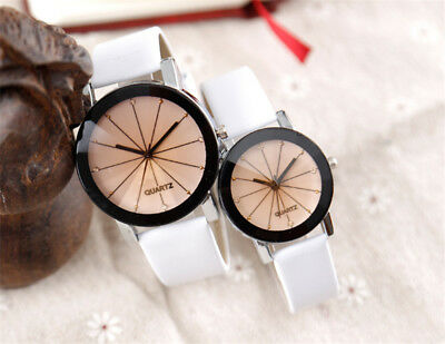 Trendy Couple Watch Leather Strap Line Analog Quartz Ladies Wrist Watches Gift