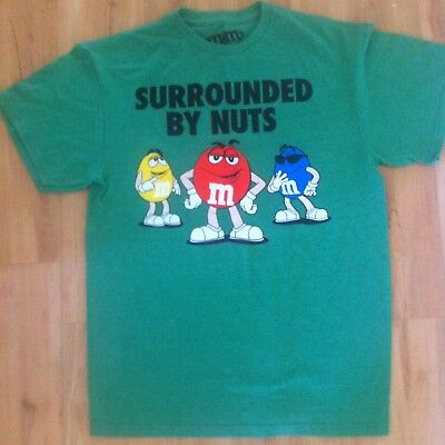Vintage M&M's T- Shirt Men's Size Medium Surrounded By Nuts Green Collectable