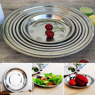 16-28CM Stainless Steel Round Dinner Plate Dish Camping Picnic Food Tableware