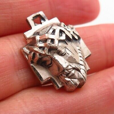 Vtg Creed 925 Sterling Silver Jesus Face Cross Religious Pendant