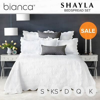 BIANCA Shayla White Bedspread Set Coverlet Set King Single/Double/Queen/King